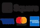 クレジット決済スクエアロゴとビザ・マスターカードのロゴ