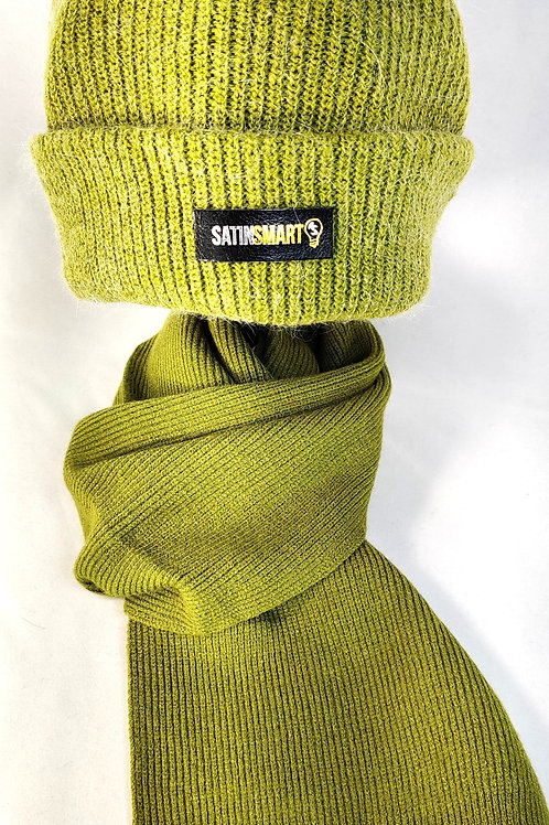 Pistachio Green Satin Lined Watch Cap & Scarf Set