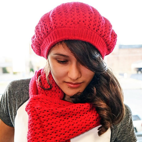 Ruby Red Satin-Lined Beret & Scarf Set