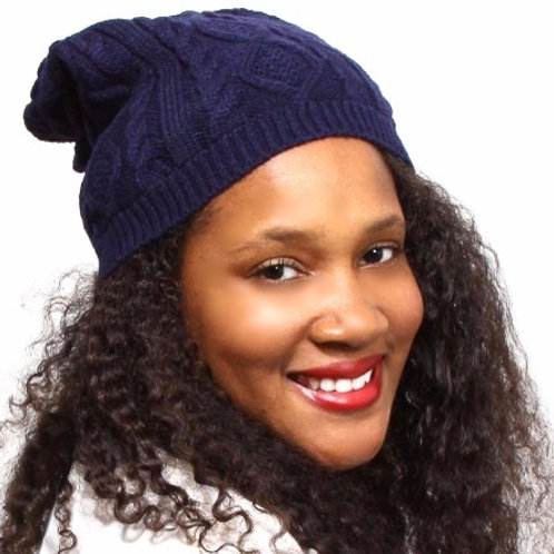 Navy Blue Satin-Lined Beanie