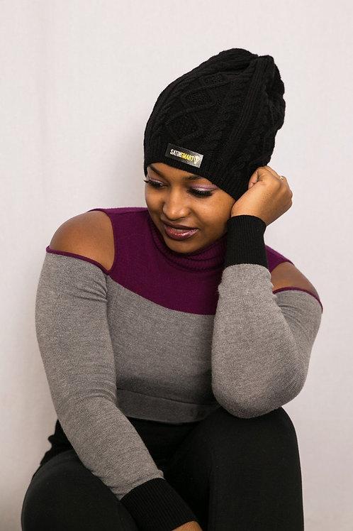 Black Ebony Satin-Lined Beanie