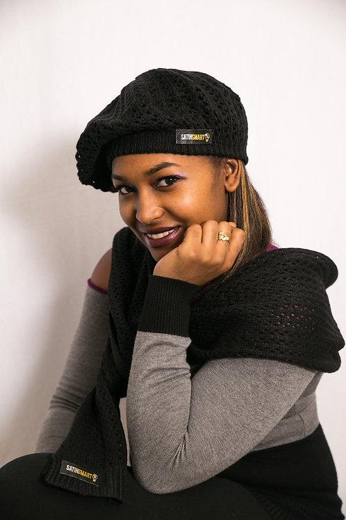 Black Onyx Satin-Lined Knit Beret & Scarf Set
