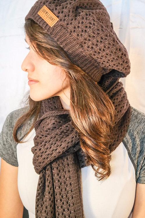 Mocha Brown Satin-Lined Knit Beret & Scarf Set
