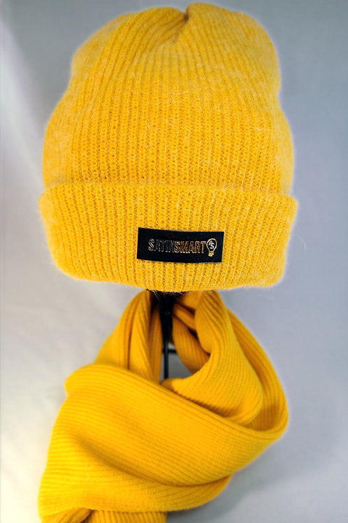 Goldenrod Yellow Satin Lined Watch Cap & Scarf Set