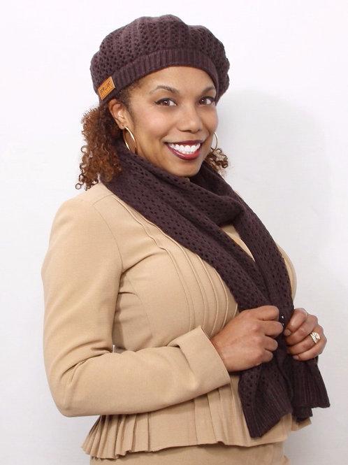 Mocha Brown Satin-Lined Knit Beret & Scarf Set Bulk