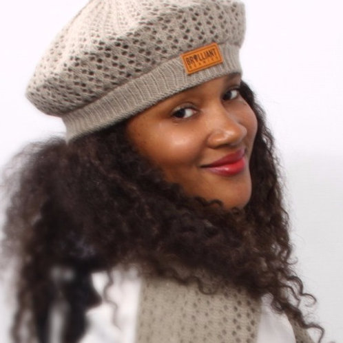 Gray Mist Satin-Lined Beret & Scarf Set Bulk