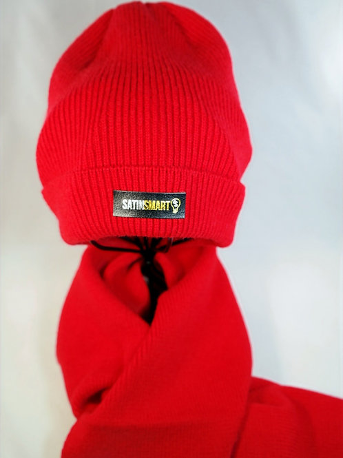Sunset Red Satin Lined Watch Cap & Scarf Set