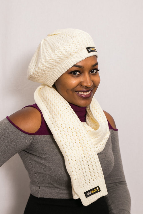 Ivory Pearl Satin-Lined Beret & Scarf Set