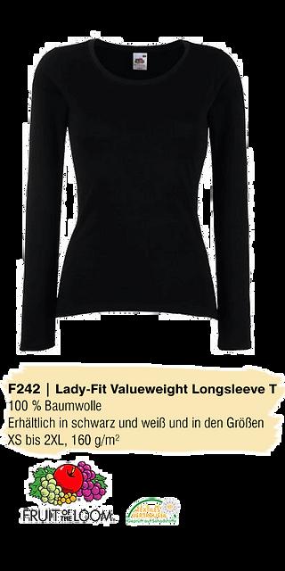 F242 Lady-Fit Valueweight Longsleeve, Abschluss Pullis, Abishirts mit Motiv, Abitextilien, Schulbekleidung, FairWear Abishirts, Abimotto TShirts, Schulbekleidung einheitlich, Kapuzenpullover Kursfahrt, Abishirts mit Motiv bedrucken