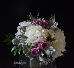 Bride's bouquet with peonies and veronic