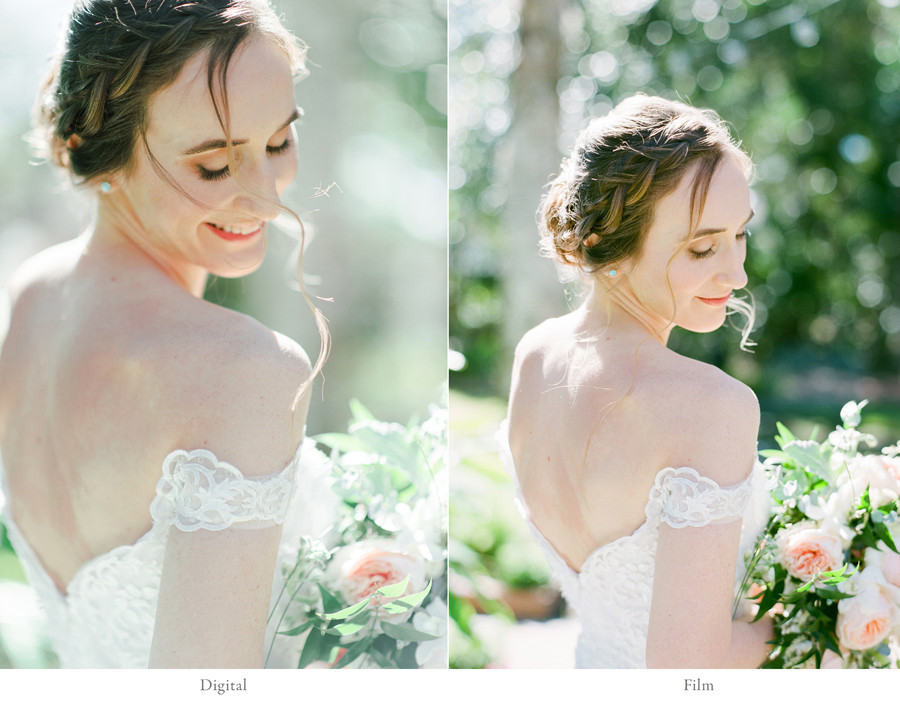 bride digital vs film portrait