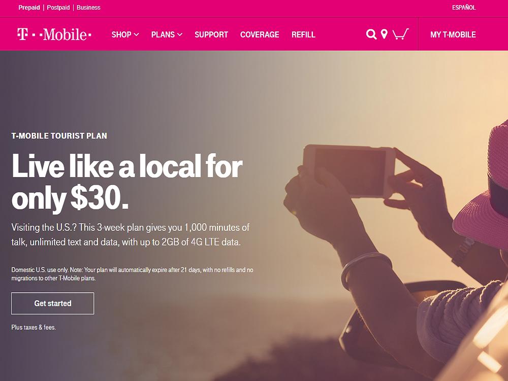 [T모바일] 여행자 선불유심카드 플랜, 3주에 1000분통화 2G 데이터가 30불