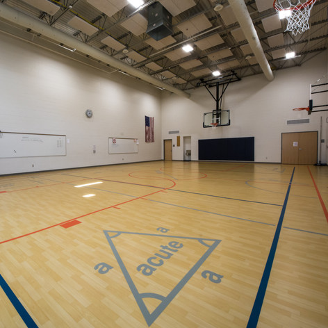 Math equations and geometry principles are embedded onto the gym floors