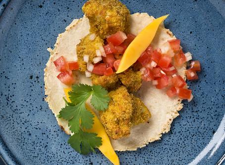Crispy coconut and curry cauliflower with tomato salsa