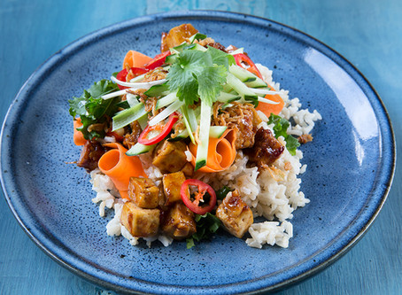 Sticky tofu salad
