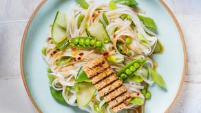 Fresh noodle salad with ginger dressing