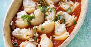 Lumaconi filled with basil ricotta and tomato sauce