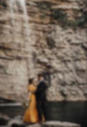 Adventurous Bride Waterfall Cliff Engage