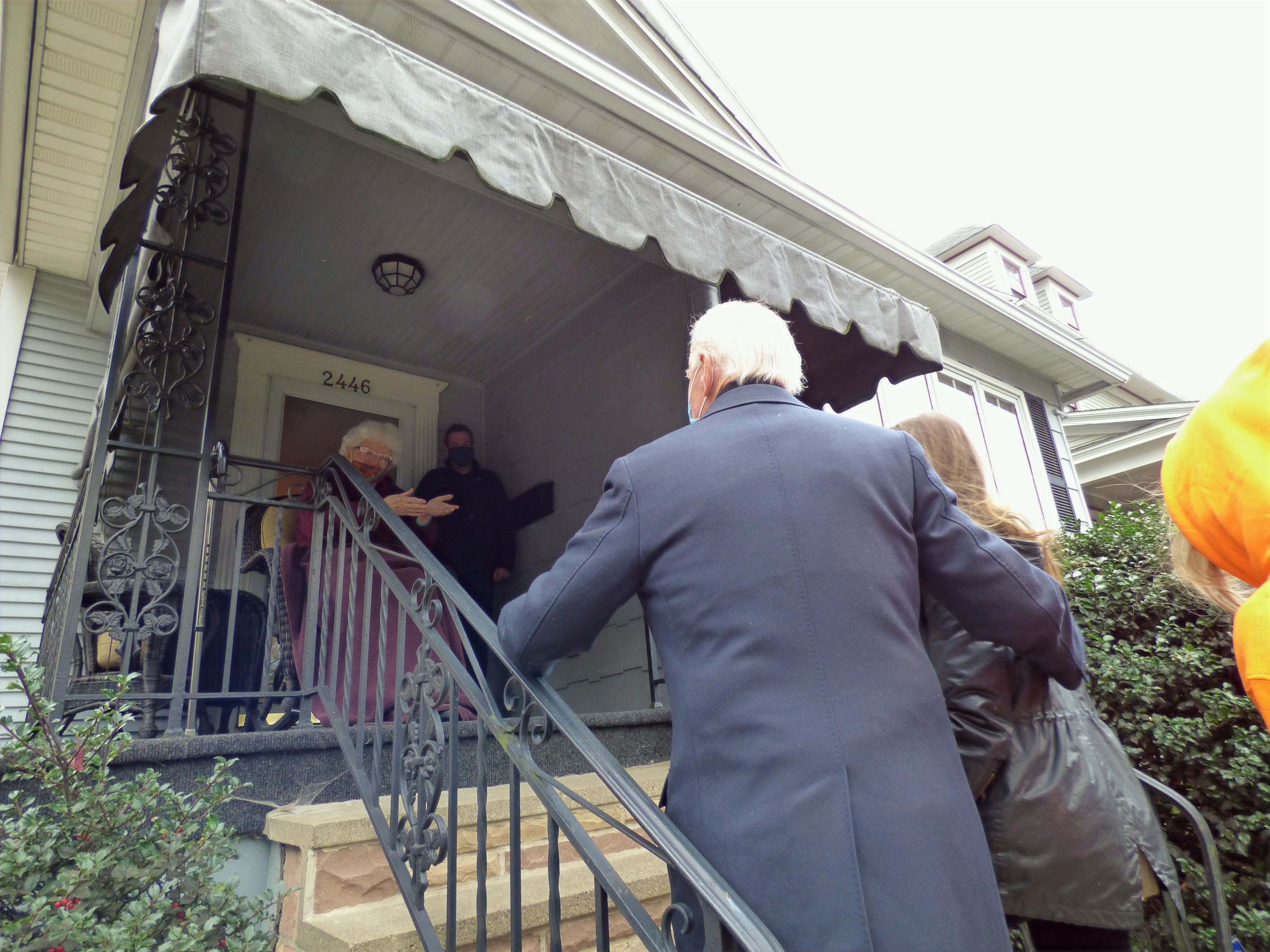 Anne Kearns, and her son Marty greet Joe Biden and his granddaughter Natalie and Finnegan (not shown
