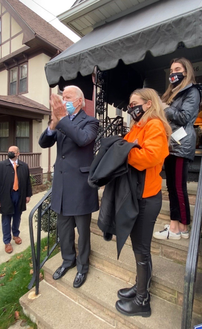 Joe Biden celebrates the crowd from the steps of  his childhood home in Scranton, PA.