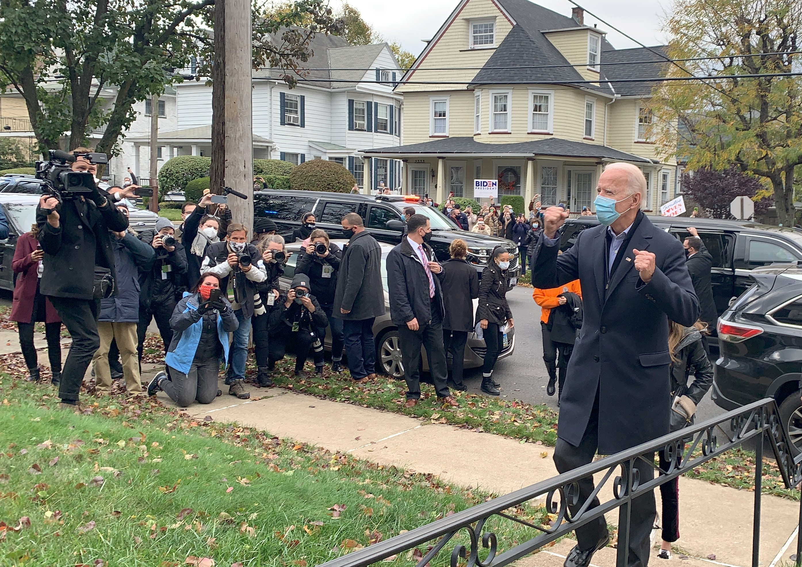 A fired up Joe Biden arrives at his childhood home on North Washington Avenue in Scranton, PA.