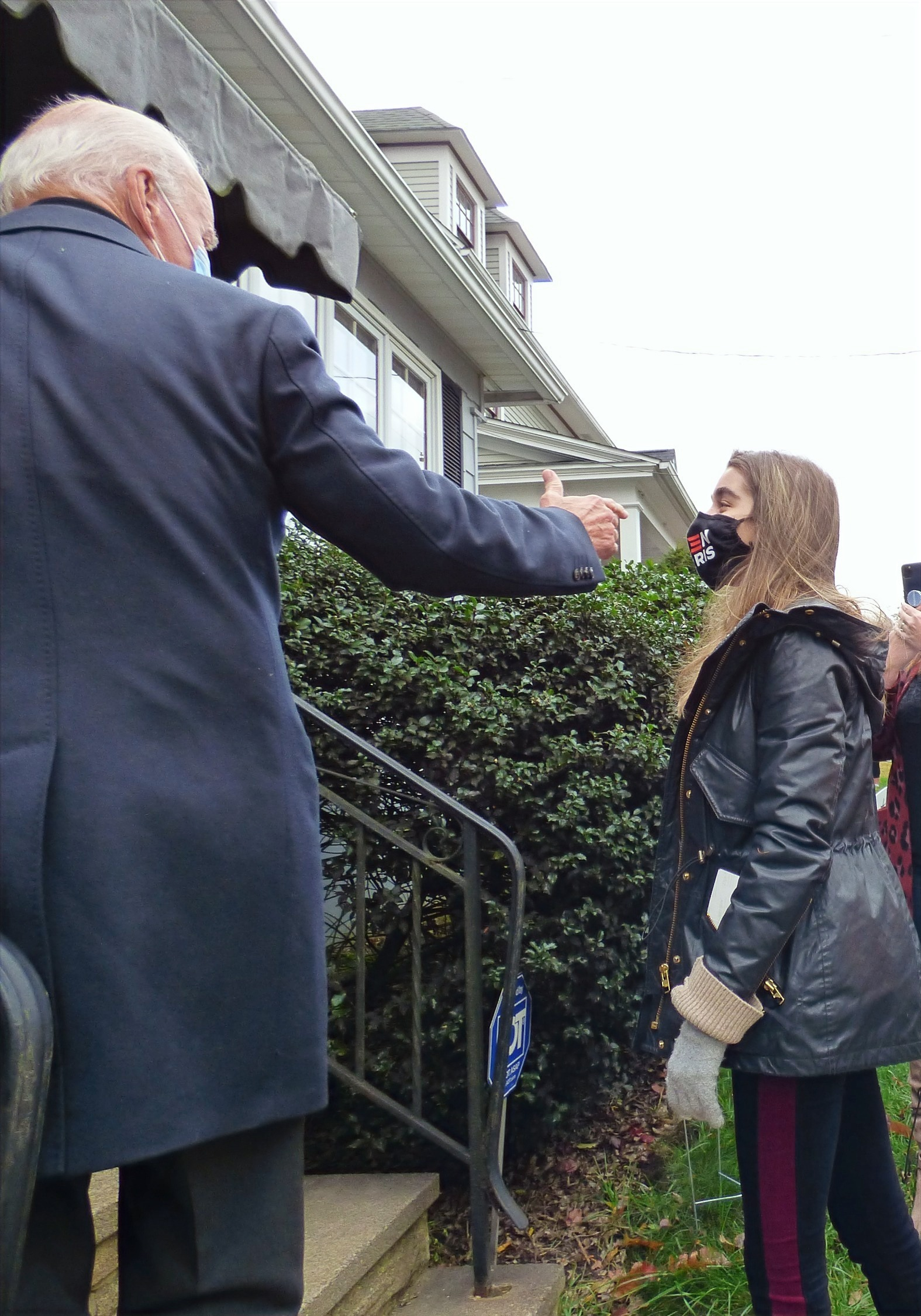 Joe Biden introduces his granddaughter Natalie to Anne and Marty Kearns at his childhood home in Scr