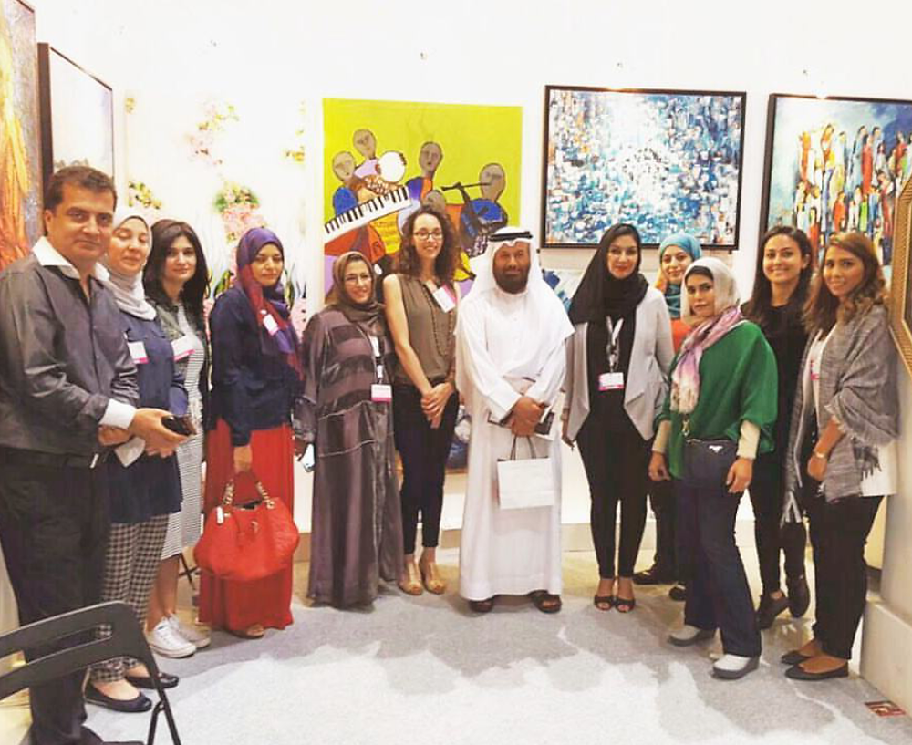 At the stand with ArtPlus Gallery and Abdul Qader Al Rais, well known established Emirati Artist