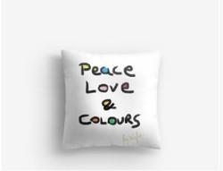 """""""Peace, Love & Colors"""" Cushion"""