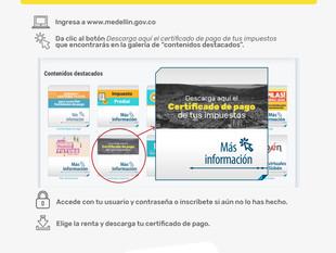 Los ciudadanos de Medellín podrán obtener certificados de pago tributarios de forma virtual