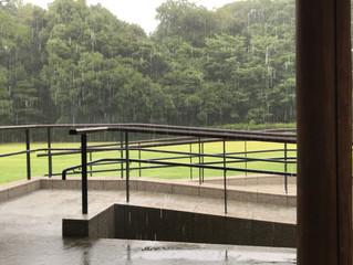 今年の梅雨はスコール?雨の栗林公園で前撮り