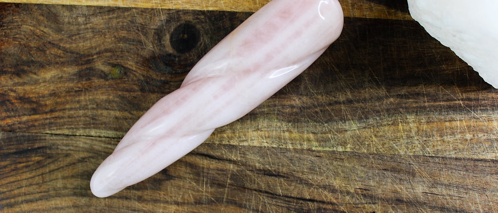 Rose Quartz Spiral Yoni Wand // GIA Certified