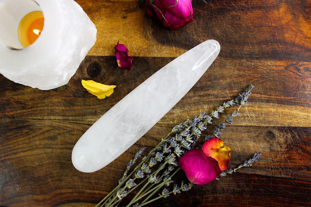 Sugar and Sage Crystal Quartz ( Self- Pleasure ) Yoni Wand