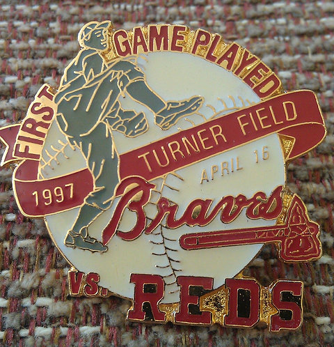 REDS First Game Played at TURNER FIELD Lapel Pin