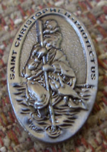"Saint CHRISTOPHER ""PROTECT US"" Lapel Pin"