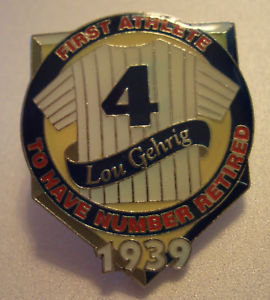 LOU GEHRIG RETIRED #4 Jersey LAPEL PIN