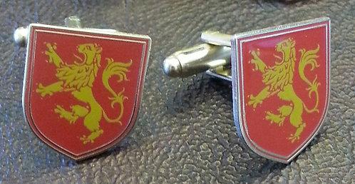 LION RAMPANT HERALDIC RED CUFF LINKS