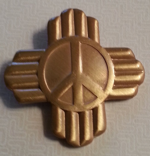 PEACE SYMBOL with RAYS Antique Gold Lapel Pin