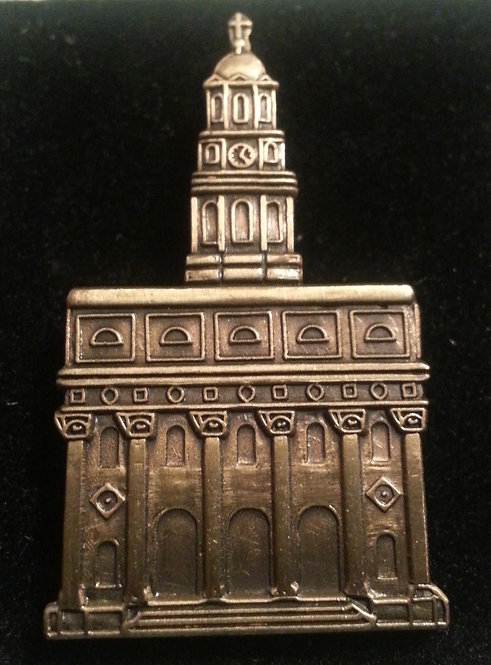 "NAUVOO TEMPLE 3/4"" Antique Gold Lapel Pin"