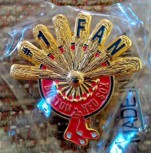 BOSTON RED SOX #1 FAN / BATS FORM A FAN Lapel Pin
