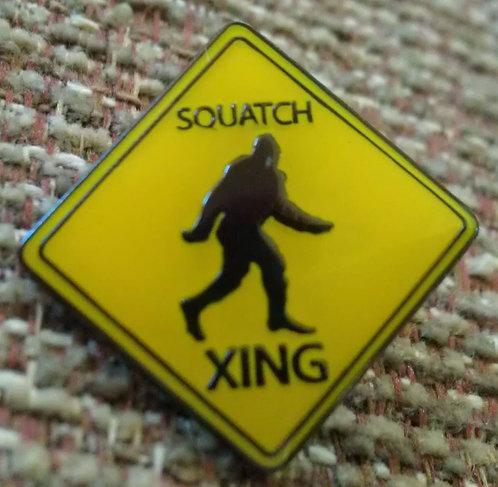 """SQUATCH XING SIGN """"SASQUATCH"""" Lapel Pin"""