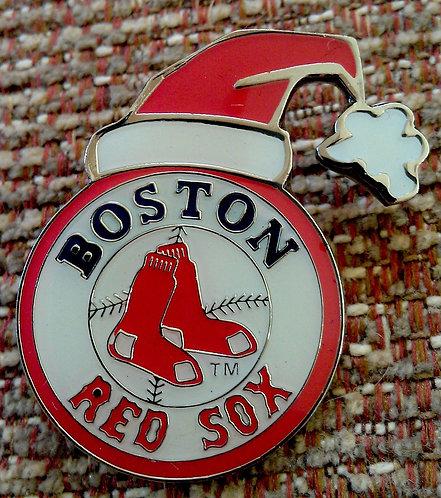 BOSTON RED SOX SANTA HAT MERRY CHRISTMAS Lapel Pin