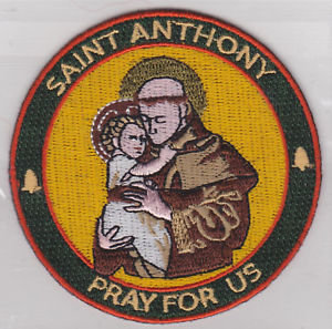 """Saint Anthony """"Pray for Us"""" 3"""" Embroidered Patch"""