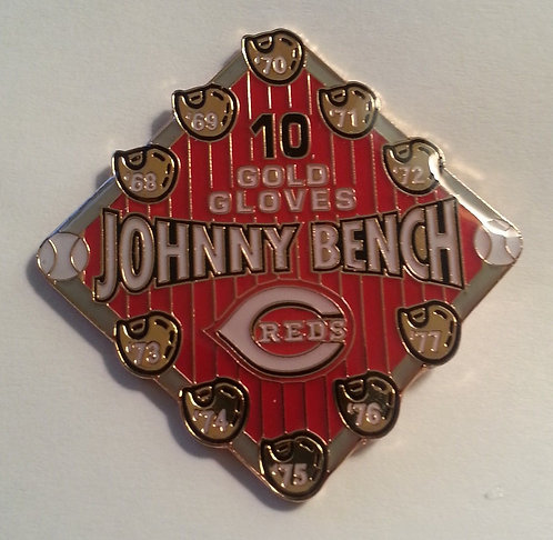 JOHNNY BENCH 10 GOLD GLOVE AWARDS Lapel Pin