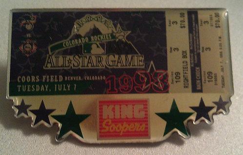 COLORADO ROCKIES 1998 ALL STAR TICKET Lapel Pin