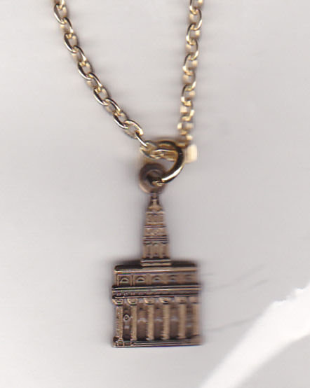 NAUVOO TEMPLE Antique Gold Pendant & Necklace