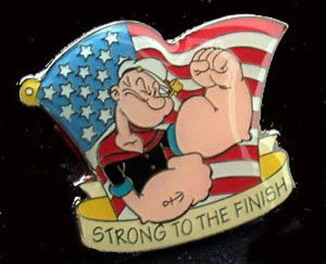 POPEYE Strong to the Finish / US Flag Lapel Pin