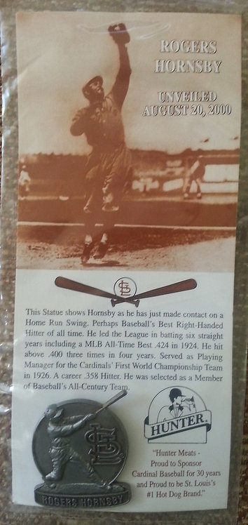 ROGERS HORNSBY Pewter Statue Unveiling Lapel Pin