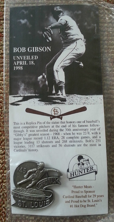 BOB GIBSON Pewter Statue Unveiling Lapel Pin