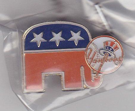 New York Yankees Republican Elephant Lapel Pin