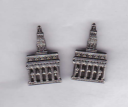 NAUVOO TEMPLE Antique Nickel Cuff Link Set
